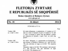 Publikohet ne Fletoren Zyrtare vendimi i Gjykates Kushtetuese per Aktin Normativ