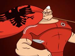Tifozat kuq e zi me nje kenge te re per kombetaren
