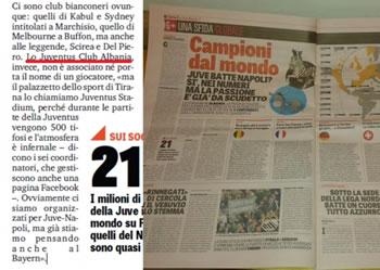 Tifozet e Juventusit ne Shqiperi 'pushtojne' mediat italiane
